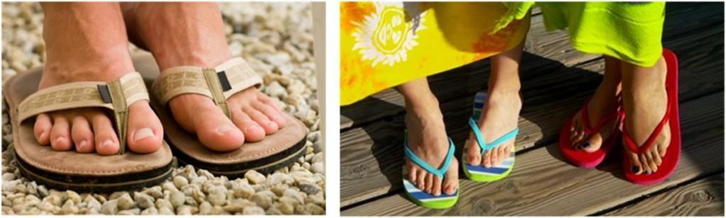 Beaux pieds en tongs