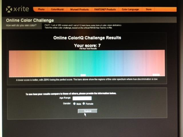 résultat test x-rite vision des couleurs