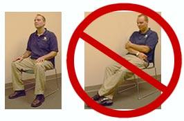 Mauvaise et bonne posture d'un homme assis