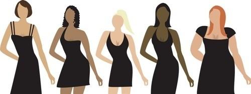 illustrations de 5 différentes silhouettes féminines