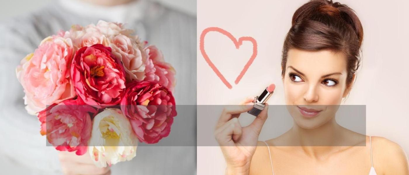 bouquet de pivoines et femme dessinant un coeur