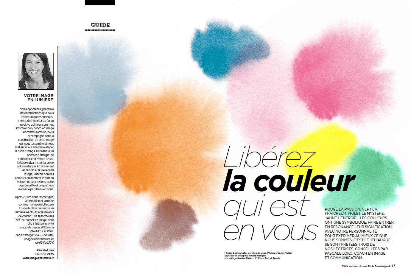 """""""Libérez la couleur qui est en vous"""" et présentation de Pascale Loko et Votre Image en Lumière"""