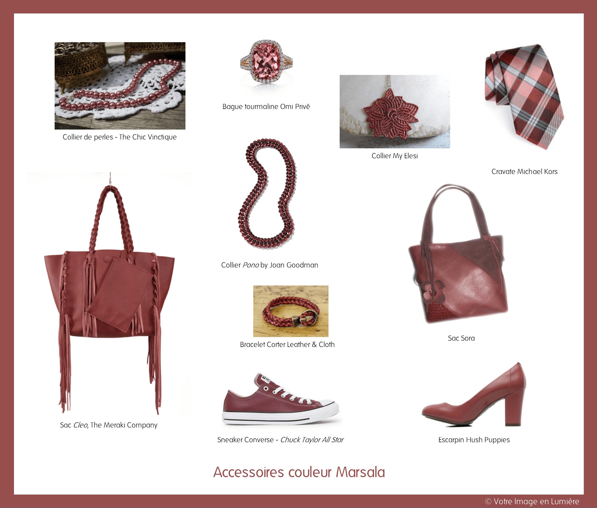 Accessoires couleur Marsala
