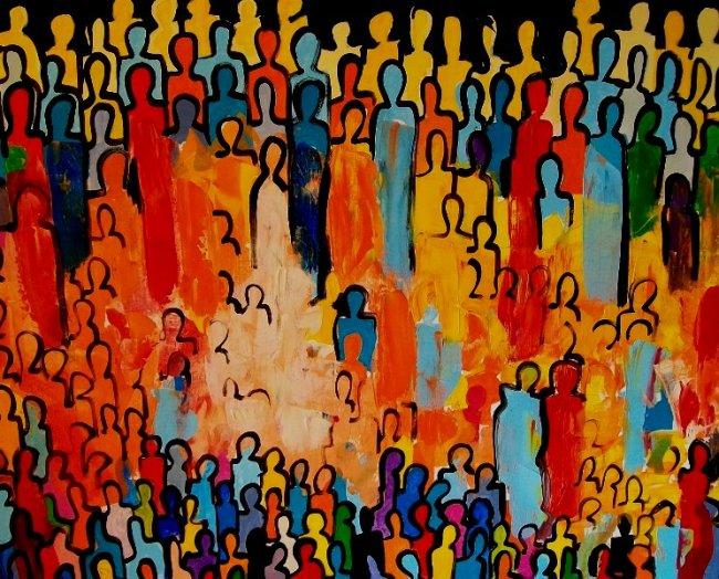 Peinture - La foule d'Eric D Hulst