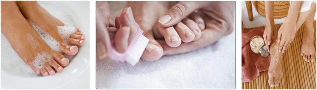 Bain, brossage et gommages des pieds