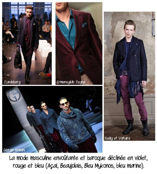 La mode masculine envoûtante et baroque déclinée en violet, rouge et bleu
