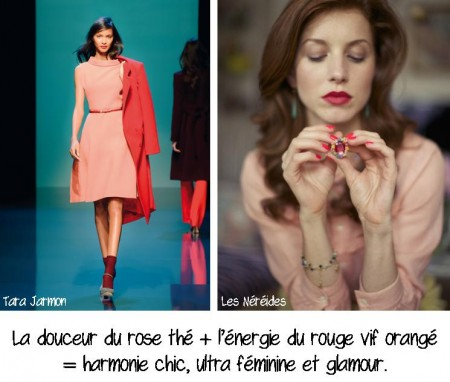 Rose thé + rouge orangé, conseil en image, relooking, makeover