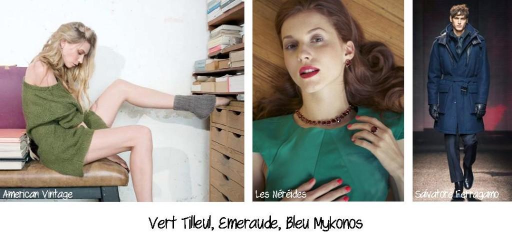 Vert tilleul - Emeraude - Bleu Mykonos