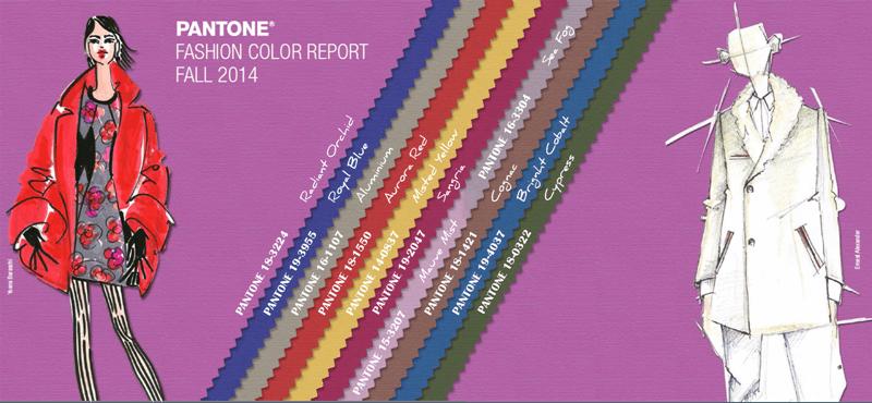 Illustration des couleurs Pantone automne 2014 Femmes et Hommes