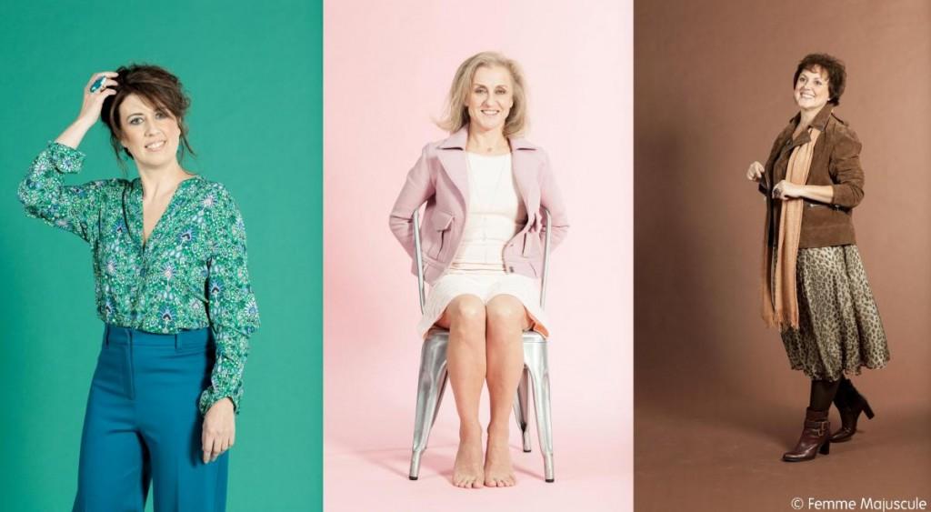 Les 3 modèles du reportage couleurs Femme Majuscule 24