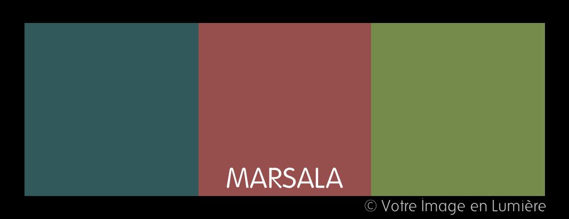 harmonie complémentaire à 3 tons - Marsala avec un bleu canard et un kaki