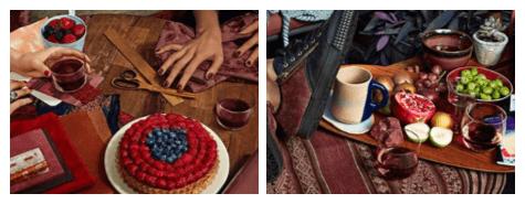 2 photos d'ambiance avec le vin Marsala et ses couleurs