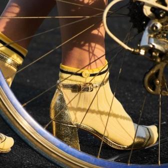Chaussettes écoresponsables Qnoop pour femme - chaussettes jaunes