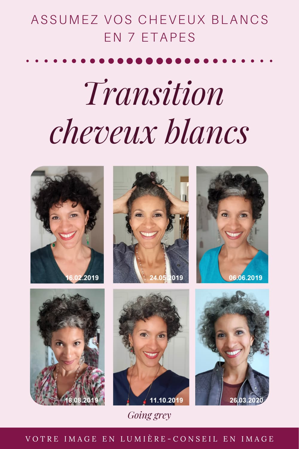Assumez vos cheveux blancs - Evolution Transition - Going grey